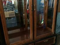 Tall Asian Style Walnut Display Cabinet is available in