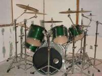 Dark Green Tama 6 piece Rim Mounted Toms and aquarian