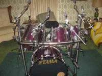 TAMA GRANDSTAR PRO DRUM SET. LUGWIG SNARE,THREE RIDE