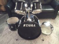 Tama Rockstar 5-drum set in black. 16x22 bass has