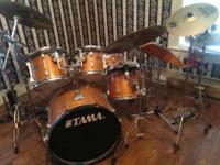 Tama rock star 6 drums in set. Sabian AA crash and