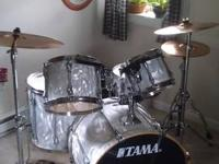 Five-piece Tama Superstar Hyperdrive in white satin