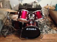 8pc. Drum set: 3 toms, bass drum, high hats, cymbal,