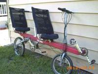 "Tamdem bike ""E"" recumbent less than 100 miles, bough"