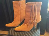 Tan Suede Fringed High Heel Boots -size 9 - Never worn