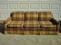 Heres a nice tan plaid couch. that would be great in