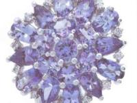 """NEW"" Stunning Round Tanzanite & Diamond Cluster Ring"