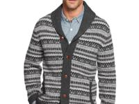 A shawl collar combines with a traditional Fair Isle