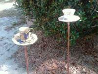 These lovely tea cup bird feeders make a surprising
