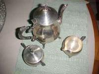 Leonard silverplate teapot, sugar and creamer,