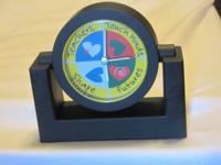 "New (unused) black plastic desk clock ""Teachers, Touch"