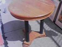 This is a nice and small teak and bamboo table. It