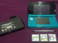 Offering my teal Nintendo 3DS and its devices. It's in