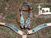 New teal zebra headstall and breastcollar set with teal