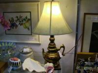 """Lovely, unique metal lamp. Measures 11""""x19"""". Vendor 51,"""