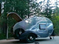 Custom built vintage style teardrop trailer. Polished