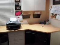 Techline, white base with Maple Wood desk top.  Overall