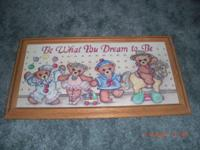 2 Teddy Bear Wall Hanging Pictures Great for Nursery or