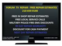 NEXT DAY FREE IN-SHOP TV REPAIR ESTIMATES. Written