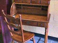 Tell City Roll Top Desk + Chair   Get there 1st and