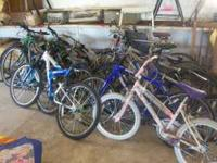 10 bikes, some like new and some older, some small