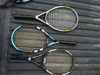 3 tennis rackets for sale will be sold as a set or