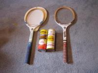 Two vintage 1980's rackets with two sealed cans of