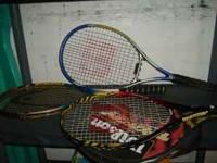 Three tennis racquets for sale. $10 each or $25 for
