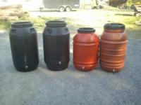50 gallon food grade red rain barrel with brass spigot,