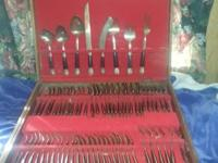 Beautiful Thai flatware set service of 12 plus large
