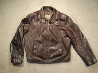 THE LEATHER SHOP VINTAGE 70'S MENS 44 RUSTIC BROWN