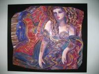 "This fantastic painting titled ""The Purple Lady"" is an"