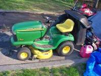 John deere lt155 15 hp ride on mower with double bagger