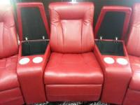 Reclining Leather Theater Seating w/ Cup Holders and