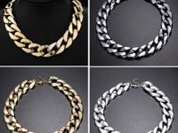 Color: Golden, Silver, Gun black  Thick Gold Chain