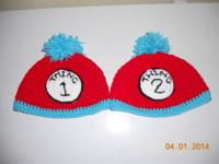 Thing 1 and thing 2 crocheted hats new child size  $30
