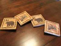 "Set of 4 ThirstyStone coasters. Each coaster is 4"" x"