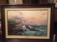 "For sale is a Thomas Kinkade ""Beacon of Hope"" oil"
