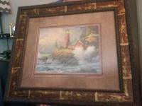 Set of two Thomas Kincade lighthouse prints beautifully
