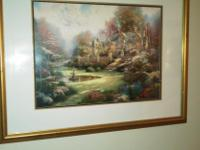 Beautiful gold framed Thomas Kincaid painting 32x24 and