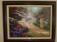 "THOMAS KINKADE ~ SPRING GATE 24"" x 31"" CANVAS Framed in"