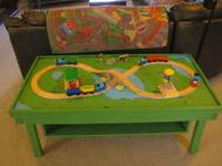 Thomas the train table with cubby, play mat, and