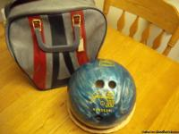 Black bowling ball with case $20.00 Blue/green bowling