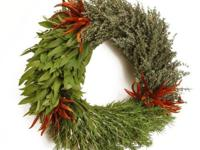 Three Herbs WreathOrganic Fresh Bay Leaf, Rosemary,