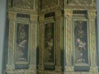 Three panel painted screen, very good condition. Paid