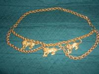 "Unusual goldtone metal belt with 3 tigers. 36"" widest"