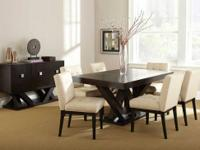 This Tiffany dining room set comes with the table, six