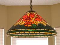 "Tiffany Hanging Lamp, approximately 21"" in dia, appears"