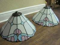 Blue/Mauve Lamp Shade(s) call  great condition