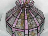 Stained Glass Hanging Lamp Tiffany Style, pressed dryed